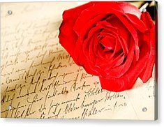 Red Rose Over A Hand Written Letter Acrylic Print