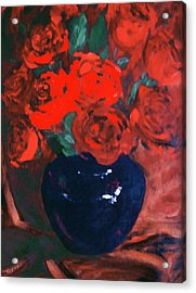 Acrylic Print featuring the painting Red Roses Blue Vase by G Linsenmayer