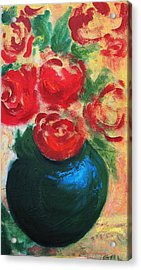 Acrylic Print featuring the painting Red Roses In Blue Vase by G Linsenmayer