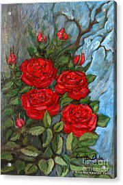 Red Roses In Old Garden Acrylic Print by Anna Folkartanna Maciejewska-Dyba
