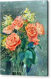 Red Roses Acrylic Print by Peter Sit