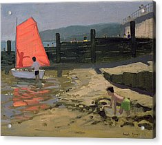 Red Sail Isle Of Wight Acrylic Print by Andrew Macara