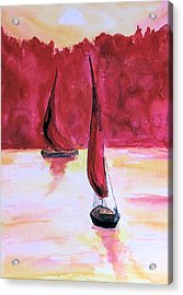 Acrylic Print featuring the painting Red Sails by Alethea McKee