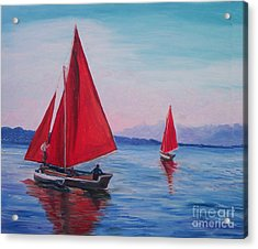 Acrylic Print featuring the painting Red Sails On Irish Coast by Julie Brugh Riffey