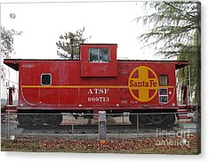 Red Sante Fe Caboose Train . 7d10328 Acrylic Print by Wingsdomain Art and Photography