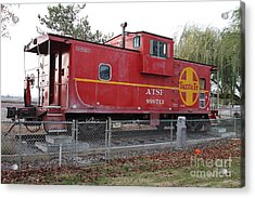Red Sante Fe Caboose Train . 7d10329 Acrylic Print by Wingsdomain Art and Photography
