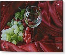 Red Satin And Grapes Acrylic Print