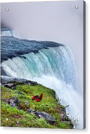 Red Shoes Left By The Falls Acrylic Print by Jill Battaglia