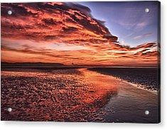 Red Sky Beach Sunrise Acrylic Print