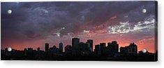 Red Skyline Edmonton Acrylic Print