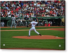 Red Sox Retiree Tim Wakefield Acrylic Print by Mike Martin