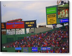 Red Sox Win Acrylic Print by Greg DeBeck