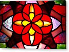 Red Stained Glass Acrylic Print by LeeAnn McLaneGoetz McLaneGoetzStudioLLCcom