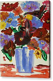Red Table- Lavender Vase Acrylic Print by Mary Carol Williams