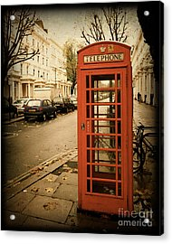 Red Telephone Booth In London England In A Grunge Vintage Border Acrylic Print