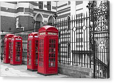 Red Telephone Boxes Acrylic Print by David French