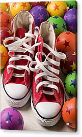 Red Tennis Shoes And Balls Acrylic Print by Garry Gay