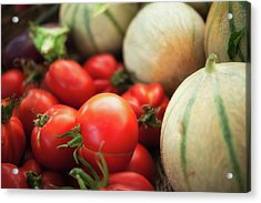 Red Tomatoes And Cantaloupe Melons Acrylic Print by Alexandre Fundone