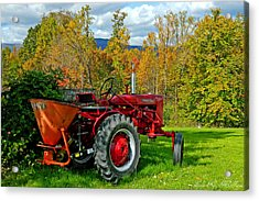 Red Tractor And Green Grass Acrylic Print