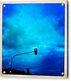 Red Traffic Light And Cloudy Blue Sky Acrylic Print