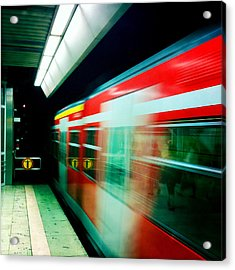 Red Train Blurred Acrylic Print by Matthias Hauser