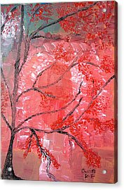 Red Tree Acrylic Print by Pretchill Smith