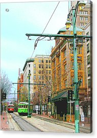 Acrylic Print featuring the photograph Red Trolley Green Trolley by Lizi Beard-Ward