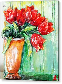 Red Tulips In Vase           Acrylic Print