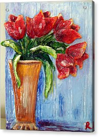 Red Tulips In Vase Mini Sculpture Acrylic Print