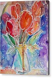 Red Tulips Acrylic Print by M C Sturman
