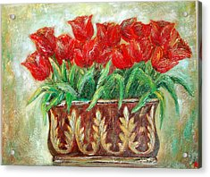 Red Tulips On The Wall Acrylic Print