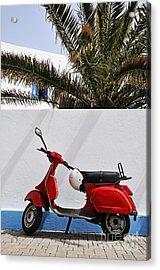 Red Vespa By Wall Acrylic Print by Sami Sarkis