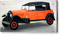 Red Vintage Car Acrylic Print by Ronald Haber