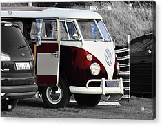 Red Vw Camper Acrylic Print by Paul Howarth