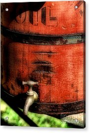 Red Weathered Wooden Bucket Acrylic Print by Paul Ward