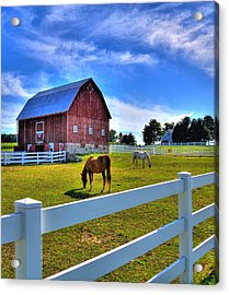 Red White And Barn Acrylic Print by Coby Cooper