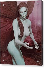 Acrylic Print featuring the painting Red Winged Fae by Maynard Ellis