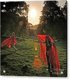 Red Witches Dance Acrylic Print by Angel Ciesniarska