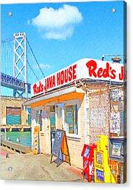 Reds Java House And The Bay Bridge At San Francisco Embarcadero Acrylic Print by Wingsdomain Art and Photography