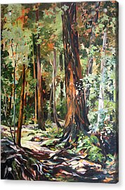 Acrylic Print featuring the painting Redwoods Maui by Rae Andrews