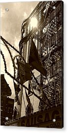 Reflecting In Little Italy Acrylic Print by Catie Canetti