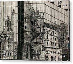 Reflection Of A Church Acrylic Print by Jamie Mah