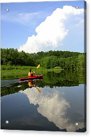 Acrylic Print featuring the photograph Reflection Of A Kayaker On The Merrimack by Rick Frost