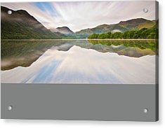 Reflection Of Mountains And Trees On Lake Acrylic Print by John Ormerod