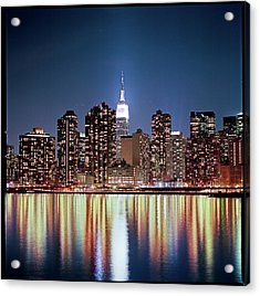 Reflection Of Skyline Acrylic Print by Shi Xuan Huang Photography