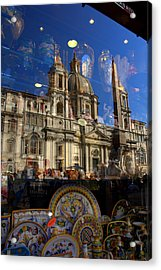 Acrylic Print featuring the photograph Reflection Piazza Navona by Caroline Stella