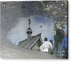 Reflections In A Rain Puddle Acrylic Print by Louise Peardon