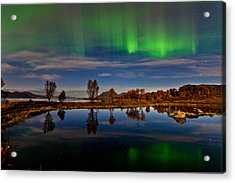 Reflections In The Pond Acrylic Print by Frank Olsen