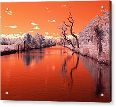Reflections On Canal In Infra Red Acrylic Print by Jackie Briggs