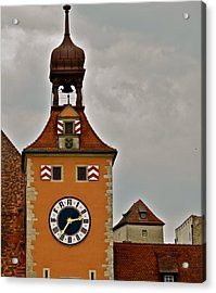 Acrylic Print featuring the photograph Regensburg Clock Tower by Kirsten Giving